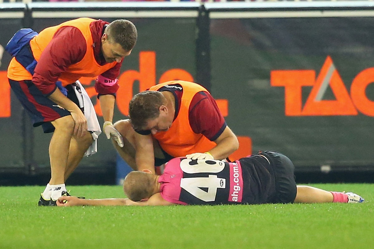 Dean Terlich after being laid out by Liam Jones.