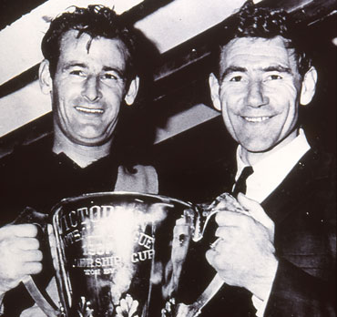 With Fred Swift and the 1967 Richmond premiership trophy.