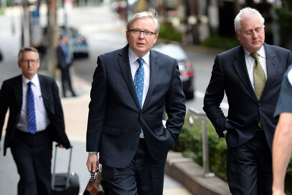 Kevin Rudd arrives at the Royal Commission.