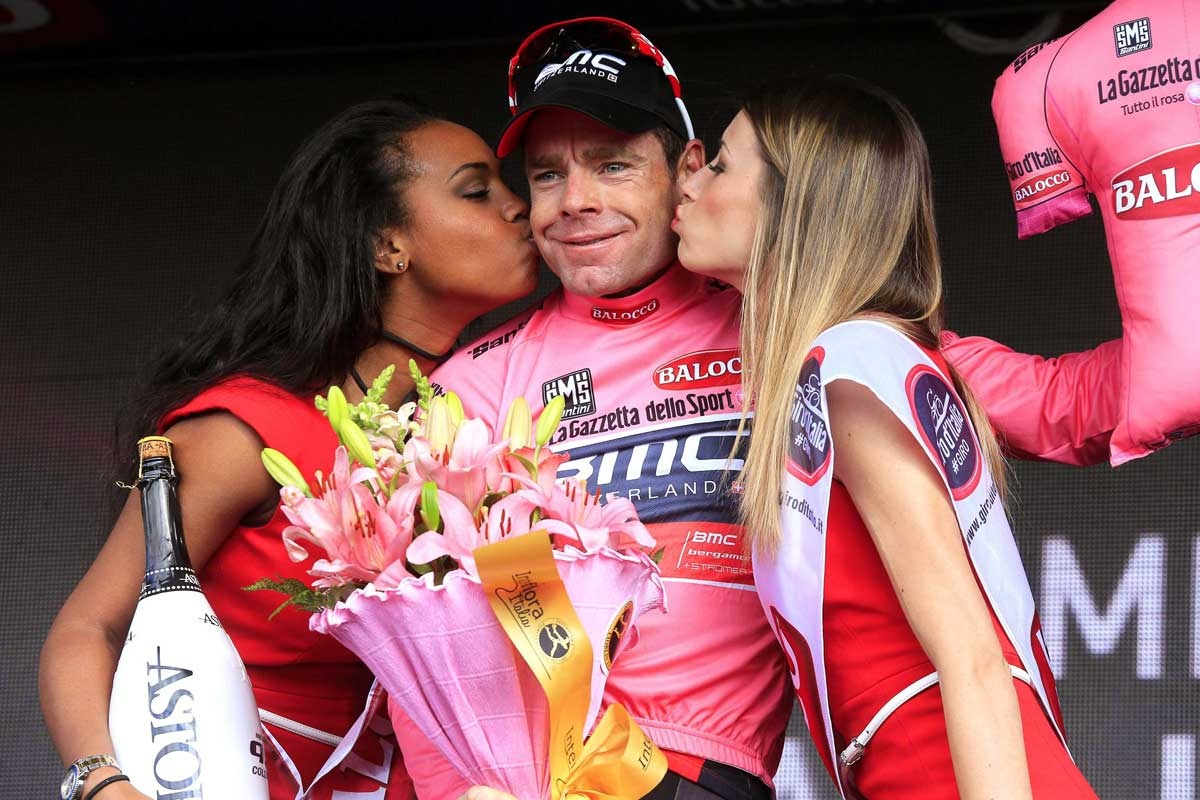 In the pink: Evans after the ninth stage of the Giro d'Italia.