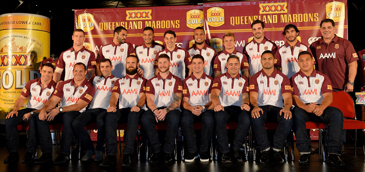 Maroons coach Mal Meninga and his State of Origin squad. Photo: Getty