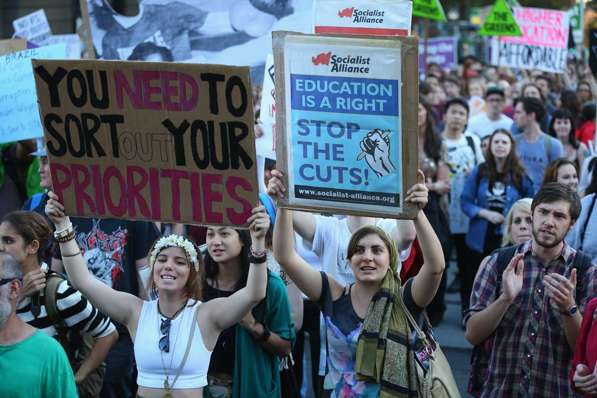 Student protesters in Melbourne.