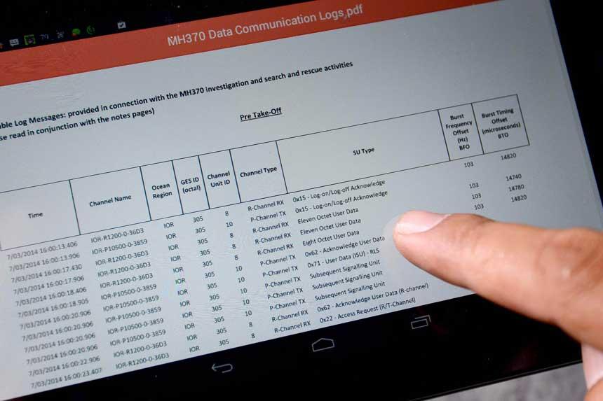 MH370 communication log