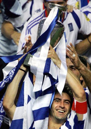 Rank outsiders: Greece's captain Theodoros Zagorakis with the European Cup. Photo: Getty