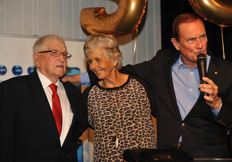 Pete Smith with his wife Jackie and father Les at the Channel Nine 50th party.