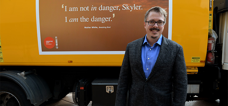 Vince Gilligan at a Sydney Writers Festival event this week. Photo: AAP