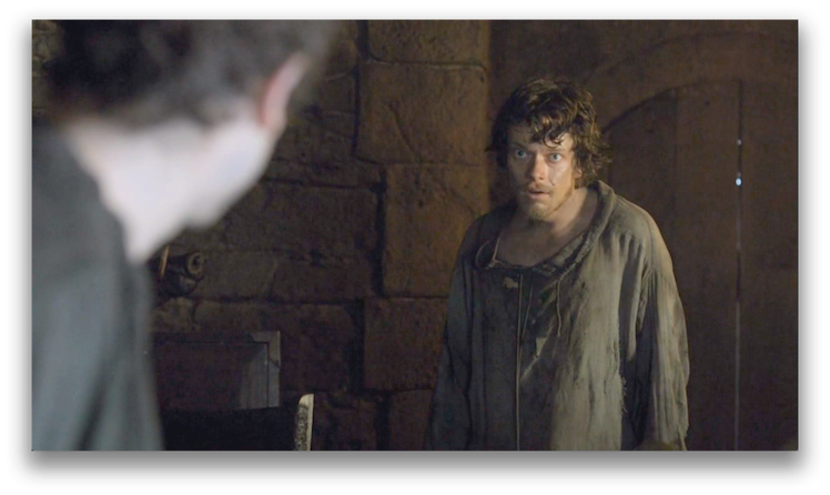 Theon Greyjoy's shock and awe when presented with the opportunity to take a bath. Photo: HBO