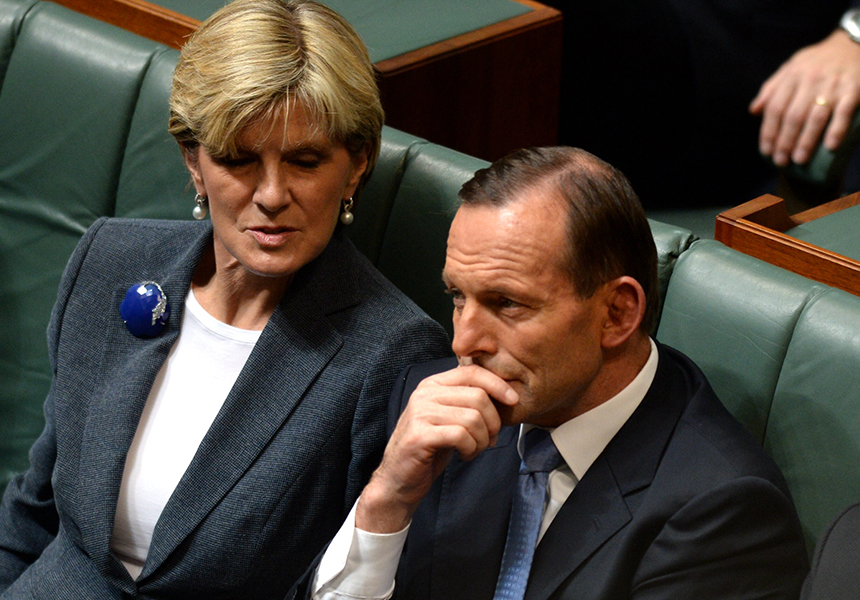 Tony Abbott and Julie Bishop listen to the reply.