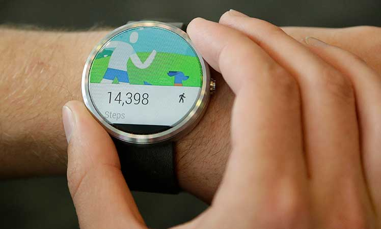 The Moto 360 by Motorola, an Android Wear smartwatch.