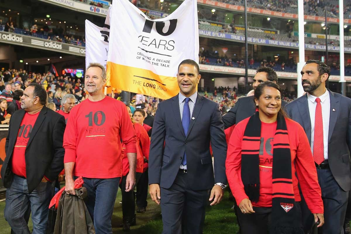 The Long Walk at the MCG as part of the AFL's indigenous round.