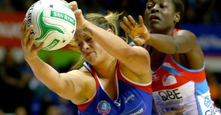 Catherine Latu of the Mystics gets posession ahead of Sonia Mkoloma of the Swifts.