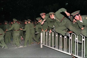 People's Liberation Army soldiers in Tiananmen Square in 1989.