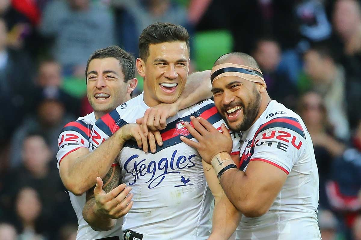 Sonny Bill Williams is the centre of attention after scoring a try.