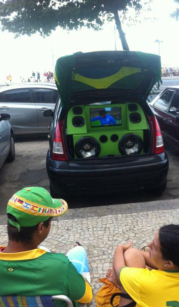 Watching in comfort, Brazilian-style. Photo: Elias Visontay
