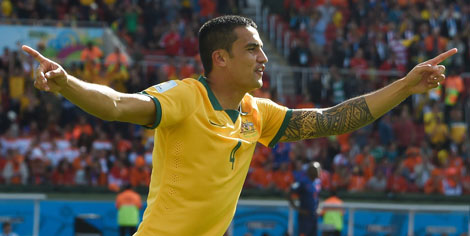 21st minute: Tim Cahill after his volley for the ages. Photo: Getty