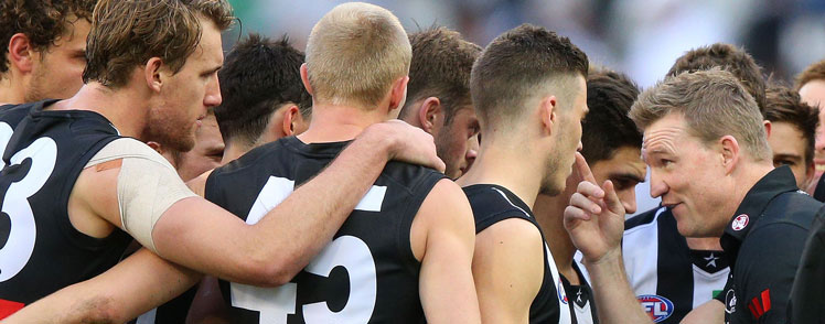An animated Nathan Buckley at three quarter time. Photo: Getty