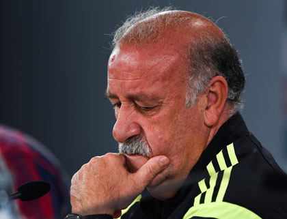 Why the long face? Because  Vicente Del Bosque's Spanish team is out of the World  Cup. Photo: Getty