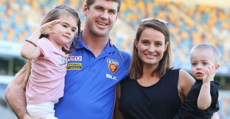 Jonathan Brown on Monday with wife Kylie and children Olivia and Jack.