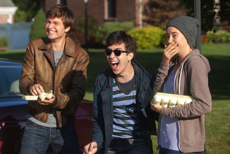 (L-R) Ansel Elgort, Nat Wolff and Shailene Woodley carry the film.
