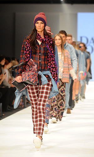Models wearing fashion from David Jones' 2014 winter collection at the Melbourne Fashion Festival. Photo: AAP