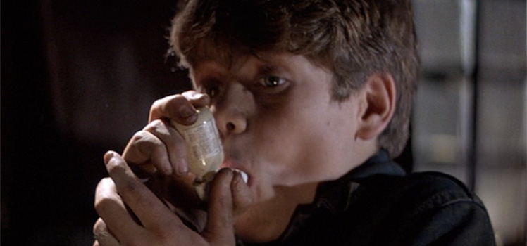 Sean Astin spent much of the movie sucking on his asthma puffer.