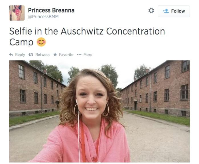 Breanna Mitchell Auschwitz selfie