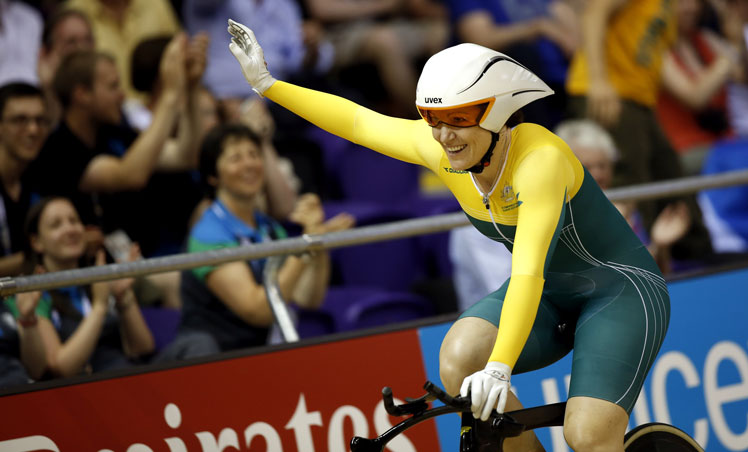 Anna Meares acknowledges the crowd after her victory in the time trial. Photo: Getty