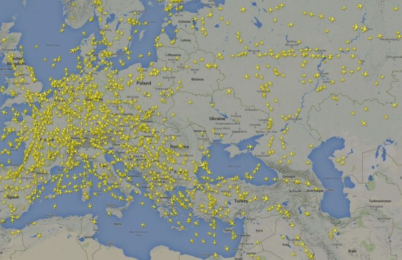 A graphic from flightradar24.com shows the avoidance of airspace above Ukraine.