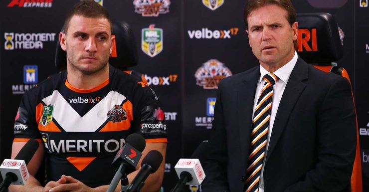 Mick Potter and Robbie Farah of the Tigers talk to the media on Sunday.