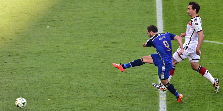 Cometh the hour: Gonzalo Higuain has his moment on the world stage - and misses. Photo: Getty