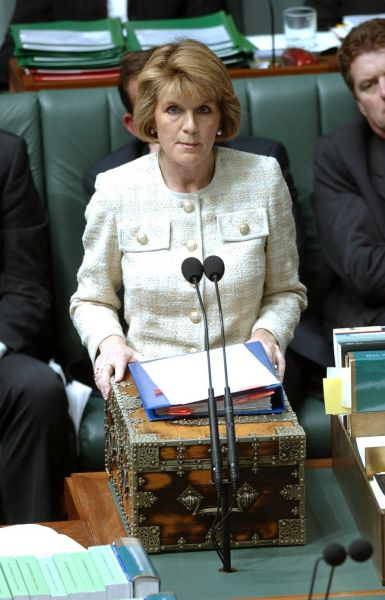 Julie Bishop as the Minister for Ageing in 2003. Photo: AAP