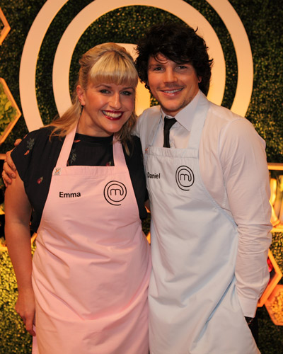 2013 winner Emma Dean and fellow contestant Daniel Churchill at the season five launch. Photo: AAP