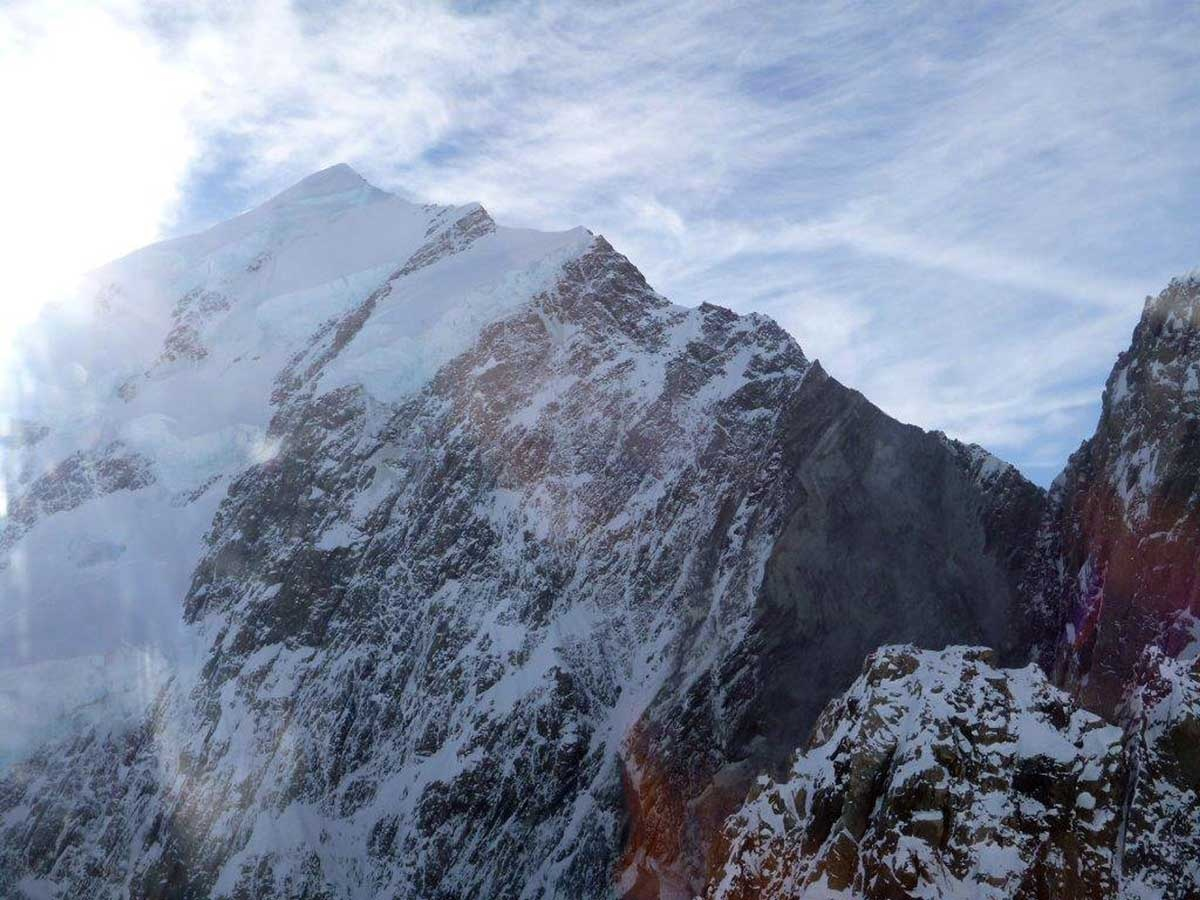 A photo taken on Wednesday of a rock fall on Mt Cook.