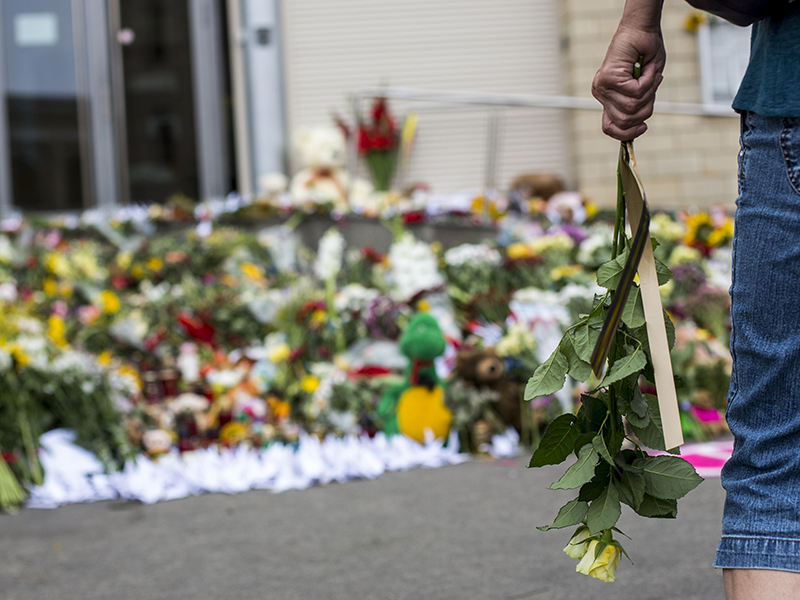 Tributes are placed in memory of the victims of flight MH17.