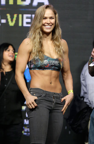 Ronda Rousey before her fight with Canadian Alexis Davis. Photo: AAP