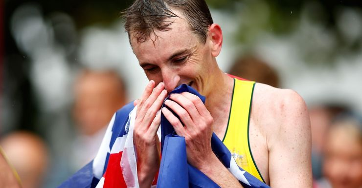 An emotional Michael Shelley after winning the marathon.