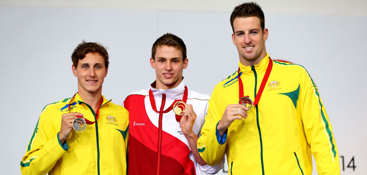 Gold medal winner Ben Proud of England after conquering Cameron McEvoy (L) and James Magnussen in the sprint.