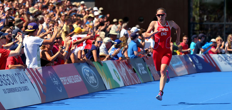Jodie Stimpson of England powers home in the triathlon. Photo: Getty