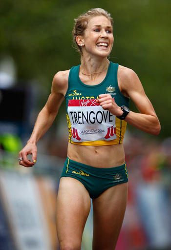 Jess Trengove was all smiles as she crossed in third position. Photo: Getty