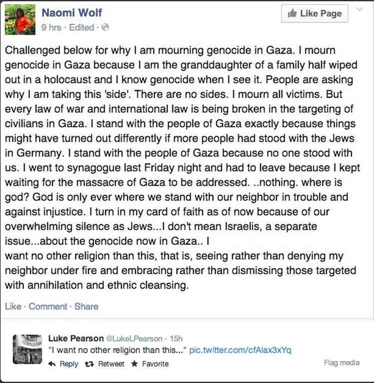 The post on Naomi Wolf's Facebook page.