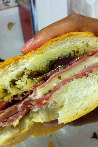 Central Grocery's muffaletta sandwich.