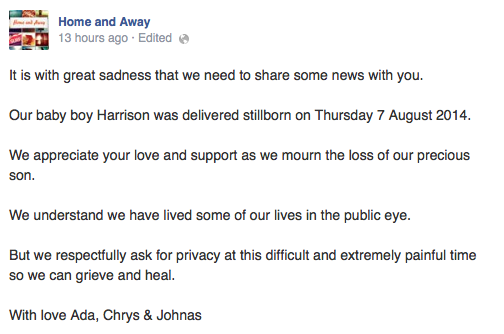 The couple's statement. Image: Facebook