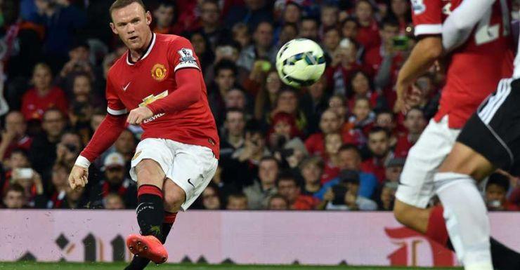 Wayne Rooney tries to bend it like Beckham.