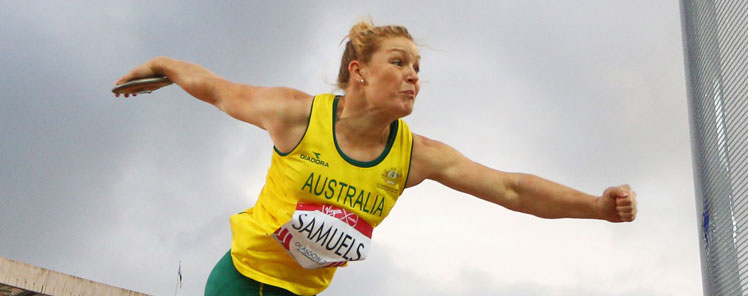Dani Samuels won the discus. Photo: Getty