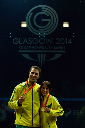 David Palmer and Rachael Grinham after winning the squash mixed doubles. Photo: Getty
