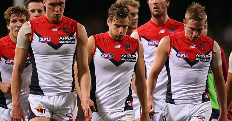 The Demons after their latest defeat.