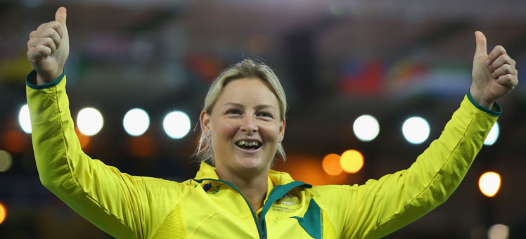 Kim Mickle won the javelin. Photo: Getty