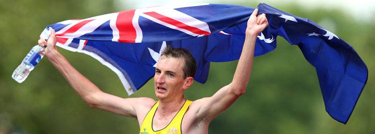 Michael Shelley was exhausted, but satisfied after winning the marathon. Photo: Getty