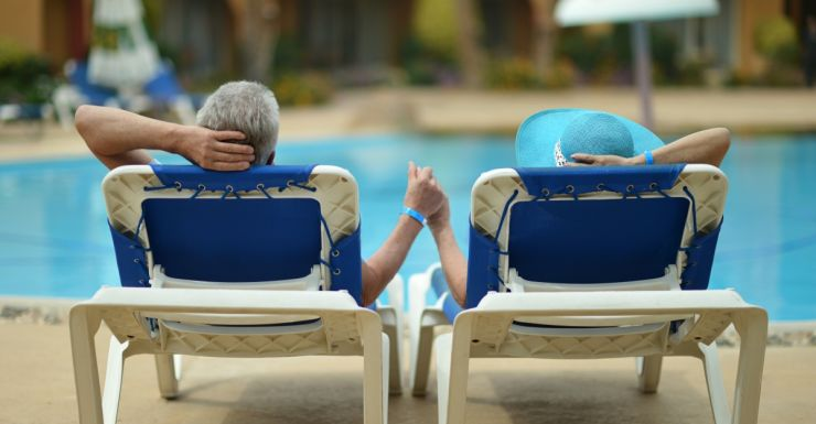 old couple at pool