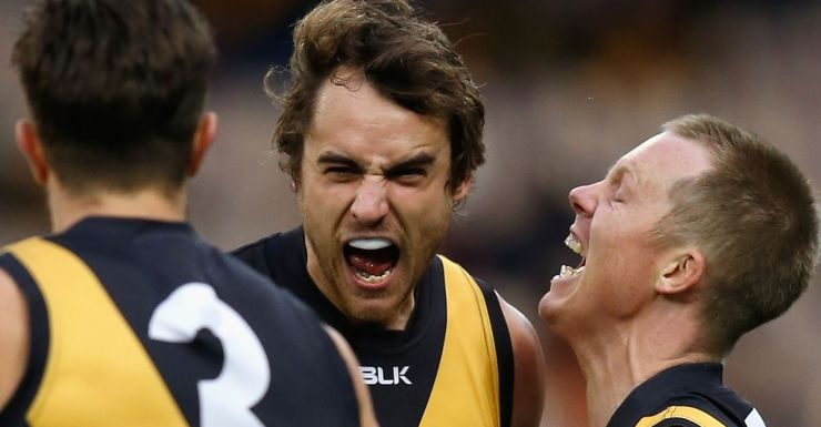 Tigers (from left) Brett Deledio, Ben Griffiths and Jack Riewoldt.